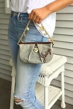 Juicy Couture Heart Charms Gold Chain Gray Velour Bag Purse Orig $125