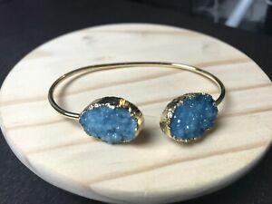 Crystal Stone Druzy Geode Bangle Cuff Bracelet Blue Aqua Quartz Gold Drusy Boho