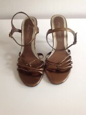 Anne Michelle Gold Strappy Stiletto Shoes Size 5 Ankle Strap Peep Toe