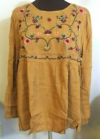 So Perla Boutique Women's Mustard Floral Embroidered Peasant Top Size Med NWTags