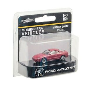 Woodland Scenics HO Scale Vehicle ~ Maroon Coupe Car ~ AS5361
