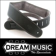 DSL Padded GENUINE Leather Guitar Strap - Black w/ Grey Back - GEG25-15-4 NEW