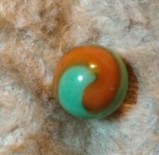 "Akro Agate Green & Orange Flaming Dragon Color Prize Name Corkscrew 5/8"" Marble"