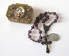 Antique Amethyst Rosary Chaplet Intaglio Glass St. Theresa Therese Case Box RARE