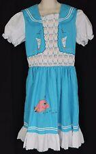 VTG 1980s Girls Dress Sz 7/8 Blue Sailboats Pink Whale Fish Liao Wang Smocked