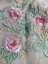 "NEW 100% Pure Silk Thin SCARF Embroidery 42"" Square"