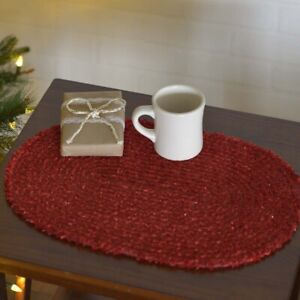 """VHC Brands Country 12""""x18"""" Placemat Set of 6 Red Christmas Dyani Holiday Decor"""