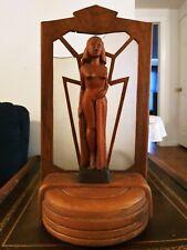 New listing Art Deco Wooden Woman Sculpture Lamp *For Restoration