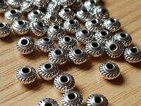 50 Tibetan Silver small 5mm BICONE SPACER BEADS - Jewellery making-Crafts