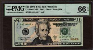 2004 $20 FRN San Francisco District STAR, PMG 66 EPQ, NICE!!