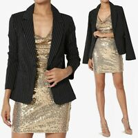 TheMogan Stripe Notched Lapel Tailored Fitted One Button Blazer Black Jacket