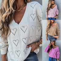 Womens Soft Knit Sweater Jumper Tops Heart Hollow Long Sleeve Pullover Clothes