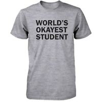 Back To School Men's Grey T-Shirt World's Okayest Student Funny Tee for Campus