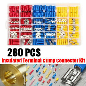 Assorted Electrical Wiring Connectors Crimp Terminals Set Kits Insulated 280PCS