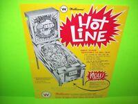 Williams HOT LINE Original 1966 Flipper Arcade Game Pinball Machine Flyer Rare