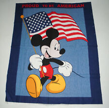New listing Vtg Mickey Mouse Tapestry Banner Proud To Be American Disney Usa Flag Patriotic