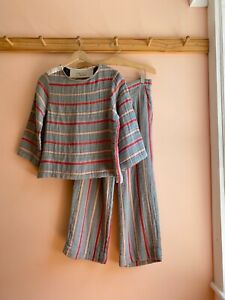 Ace & Jig soft cotton dbl gauze high waist striped pants shirt jumpsuit top set