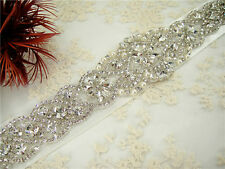 Stunning Rhinestone Bridal Belt Sash Crystal Wedding Accessory Any Colour Ribbon