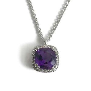Cushion Purple Amethyst Diamond Halo Pendant Necklace 14K White Gold, 3.54 Grams