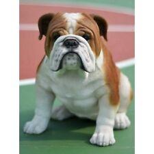 Large Realistic Bulldog Sitting Dog Life Like Figurine Statue Home/ Garden NEW