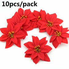 Home Decoration Christmas Tree Flowers Glitter Ornament Xmas Gift Poinsettia