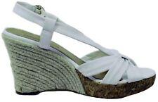 735d0fa6429 Antonio Melani Tropic Womens White Leather Slingback Wedge Sandals Size 9.5
