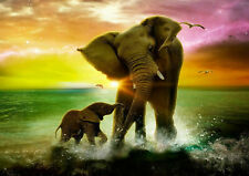 ELEPHANT SUNSET HD CANVAS 20X30 INCH LARGE FRAMED MOTHER AND CHILD