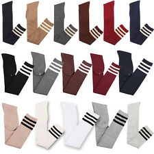 Women Girls Stripe Thigh High Over the Knee Socks Stundent Long Cotton Stockings