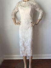 NWT St John Knit dress size 2 white cream lace