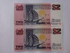 Singapore $2 Ship Purple (PERFECT UNC) 2pcs Running Number ME 921789 - 90