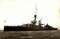 HMS Thunderer RPPC postcard real photograph Royal Navy military antique