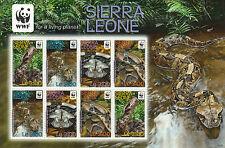 Sierra Leone 2011 MNH Forest Puff Adder 8v Sheetlet WWF Snakes Nature Reptiles