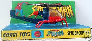 1978 Corgi Juniors #75 SPIDERMAN SPIDERCOPTER Diecast Model & Custom Display