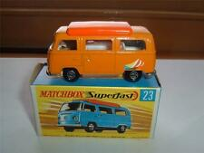MATCHBOX LESNEY SUPERFAST NO 23E VOLKSWAGEN T2 CAMPER & ORIGINAL BOX C THE PICS