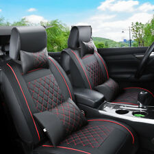 US PU Leather Car Seat Cover 5-Seats Front + Rear Cushion Mat Pad w/ Pillows