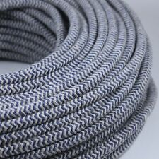 Cable Electrique Chevron Chanvre Bleu Textile Tissu Rond Normes CE 2*0,75mm 2