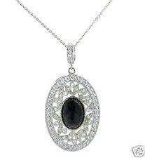 Joseph Esposito Diamonique Solid 925 Sterling Silver Oval Onyx Pendant Necklace'