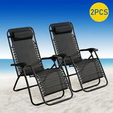 2x Folding Recline Zero Gravity Chairs Garden Lounge Beach Camp Portable W/Trays