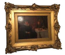 Cavalier Smoking Antique Oil Painting Albert Friedrich Schroder 1854-1939 German