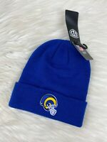 Los Angeles Rams NFL Cuffed Knit Winter Beanie Hat Royal Blue Vintage Logo Adult