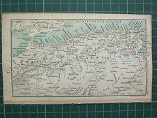 1904 Piccola Mappa ~ Marocco FEZ stretto di Gibilterra ~ Algeria Tunisi Algeri