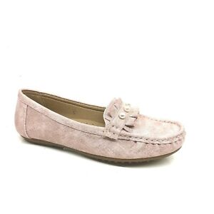 WOMANS LADIES PINK BEADED ALIP ON LOAFER SHOES