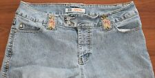 Vintage DESIGNER Faded Glory JEANS Plus Size 16W Sequins & EMBROIDERED FLOWERS