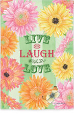 Live Love Laugh Inspirational Gerber Daisy Butterfly Double Sided House Flag