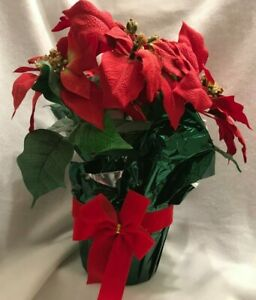 Christmas Red Poinsettia Flowers Artificial Plant Foil Wrapped Pot Vintage
