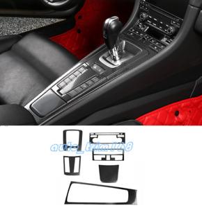 6PCS Carbon Fiber Gear Shift Box Panel Trim For Porsche 718 Boxster Cayman 16-19