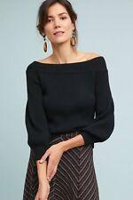 NWT Anthropologie Moth Black Dancer Off-The-Shoulder Sweater XS