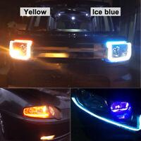 2X 60cm voiture LED bande mince mince phare DRL flux clignotants Blanc à Ambre