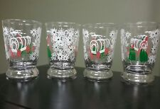 """4 VINTAGE COVERED WAGON JUICE GLASS LIBBEY 4"""" GREEN RED WHITE FLOWERS WESTERN"""