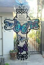Joan Baker hand painted 10x7 Cross Blue Butterfly Heb 11:1 NIB suncatcher